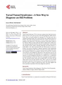 Tarsal Tunnel Syndrome—A New Way to