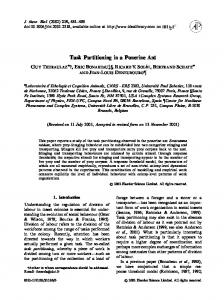 Task Partitioning in a Ponerine Ant - Semantic Scholar