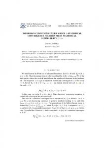 tauberian conditions under which -statistical ...