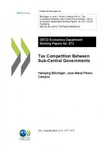 Tax Competition Between Sub-Central Governments - OECD iLibrary