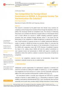 Tax Competition for Foreign Direct Investment in ASEAN: Is Corporate