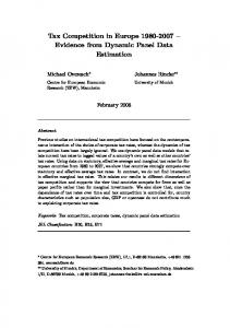 Tax Competition in Europe 1980-2007 – Evidence ... - Semantic Scholar