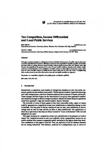 Tax Competition, Income Differentials and Local Public Services