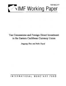Tax Concessions and Foreign Direct Investment in the Eastern ... - IMF