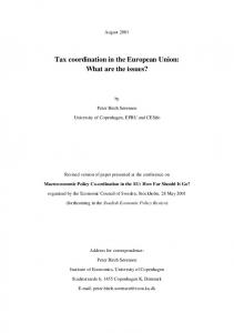 Tax coordination in the European Union: What are the issues?