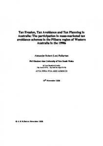Tax Evasion, Tax Avoidance and Tax Planning in ... - espace - Curtin's
