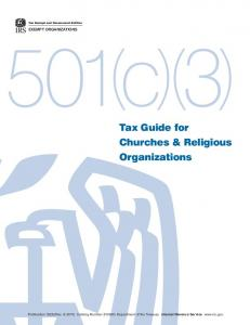 Tax Guide for Churches and Religious Organizations