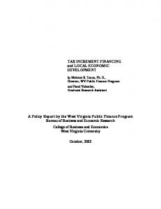 Tax Increment Financing and Local Economic Development