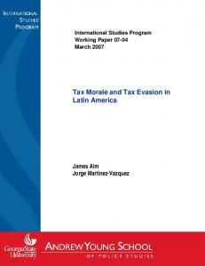 Tax Morale and Tax Evasion in Latin America - International Center for ...
