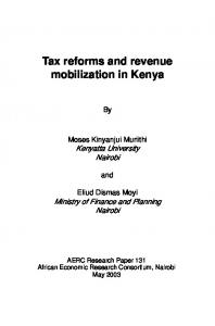 Tax reforms and revenue mobilization in Kenya - Africa Portal