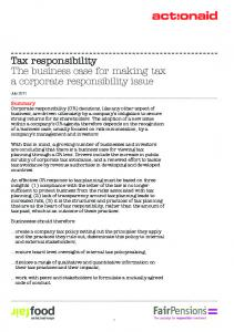 Tax responsibility The business case for making tax a corporate ...
