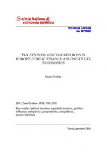 tax systems and tax reforms in europe: public finance and political ...