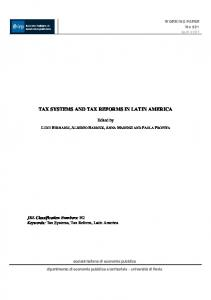 tax systems and tax reforms in latin america - Cepal