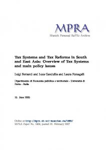 Tax Systems and Tax Reforms in South and East Asia: Overview of ...