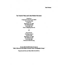 Tax-Transfer Policy and Labor Market Outcomes - Georgetown ...