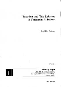 Taxation and Tax Reforms in Tanzania: A Survey - CiteSeerX