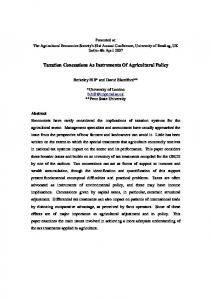 Taxation Concessions As Instruments Of Agricultural ... - AgEcon Search