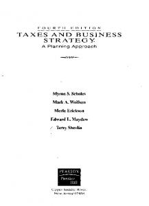 TAXES AND BUSINESS STRATEGY