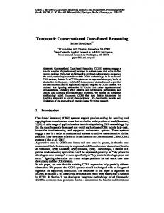 Taxonomic Conversational Case-Based Reasoning - Semantic Scholar