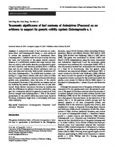 Taxonomic significance of leaf anatomy of Aniselytron (Poaceae) as ...