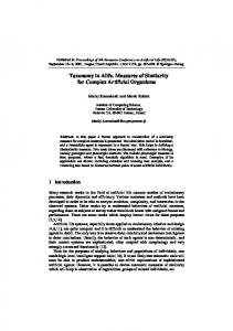 Taxonomy in Alife. Measures of Similarity for Complex Artificial ...