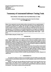 Taxonomy of Automated Software Testing Tools - CiteSeerX