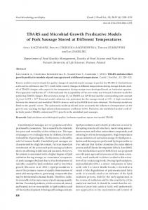 TBARS and Microbial Growth Predicative Models of Pork Sausage ...