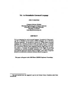 Tcl: An Embeddable Command Language - Stanford University