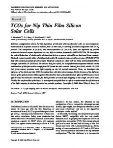 TCOs for nip thin film silicon solar cells - Infoscience
