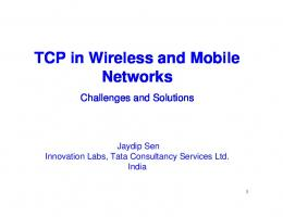 TCP in Wireless and Mobile Networks