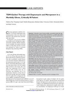 TDM-Guided Therapy with Daptomycin and Meropenem in a Morbidly ...