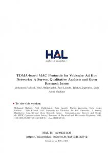 TDMA-based MAC Protocols for Vehicular Ad Hoc Networks - Hal