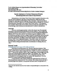 Teacher Assistants in Durham Elementary Schools: Identifying ...