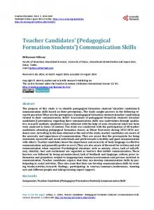 Teacher Candidates' (Pedagogical Formation Students