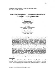 Teacher development: De facto teacher leaders for English language ...