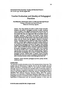 Teacher Evaluation and Quality of Pedagogical Practices