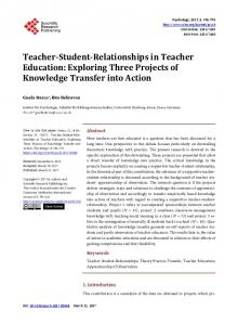Teacher-Student-Relationships in Teacher Education - Scientific ...