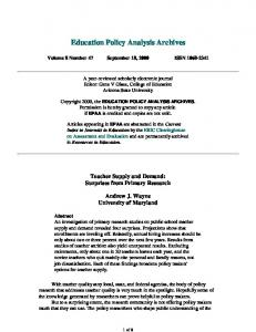 Teacher Supply and Demand - Education Policy Analysis Archives