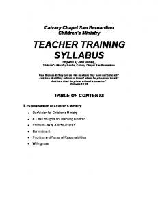 TEACHER TRAINING SYLLABUS - Calvary Chapel San Bernardino