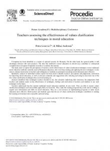 Teachers Assessing the Effectiveness of Values ... - ScienceDirect.com