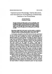 Teachers Content Knowledge, Teacher Education, and ... - CiteSeerX