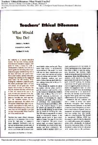 Teachers' Ethical Dilemmas: What Would You Do?