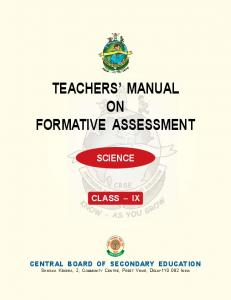 Teachers' Manual on Formative Assessment - Science (Class IX)