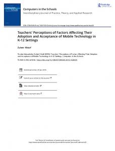 Teachers' Perceptions of Factors Affecting Their ...