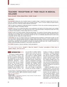teachers' perceptions of their roles in medical colleges