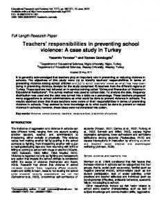 Teachers' responsibilities in preventing school violence