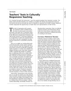 Teachers' Texts in Culturally Responsive Teaching