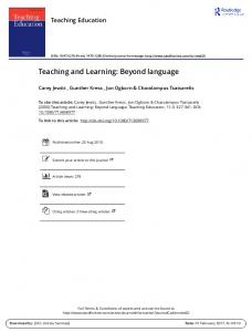 Teaching and Learning: beyond language