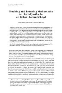 Teaching and Learning Mathematics for Social Justice ... - Radical Math