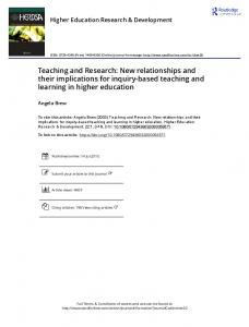 Teaching and Research: New relationships and their
